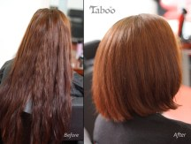 Bob style hair cut from long hair before and after photo.