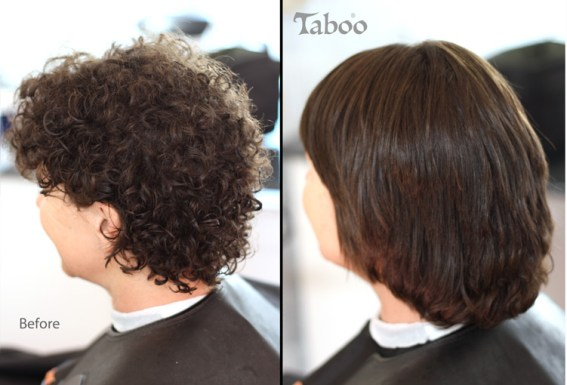 Chemical straightening on curly hair before and after photo