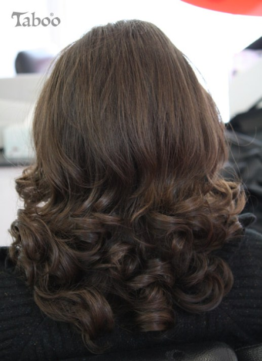 Curled hair style