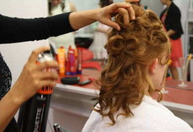 Updo style being worked on by Tina Fox