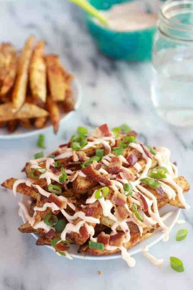 Double-Baked Fries with Garlic Cheese Sauce and Bacon-1