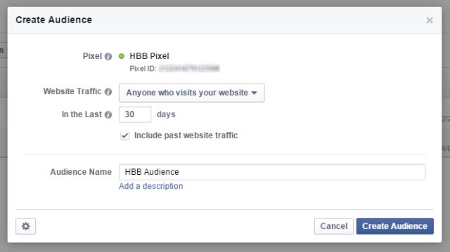 Facebook Ads Custom Audience Name Pixel Created