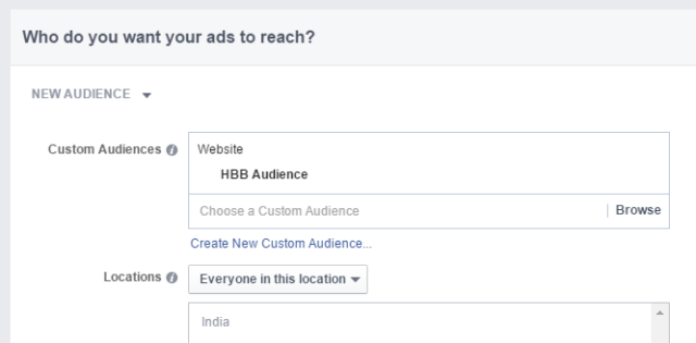 Facebook Ads HBB Custom Audience