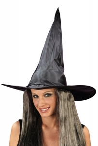 Black Witch Hat with Hair