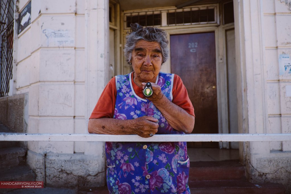 old lady with favourite football team valparaiso chile