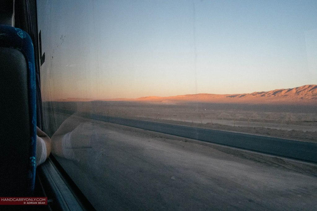 View of Atacama Desert from bus Chile