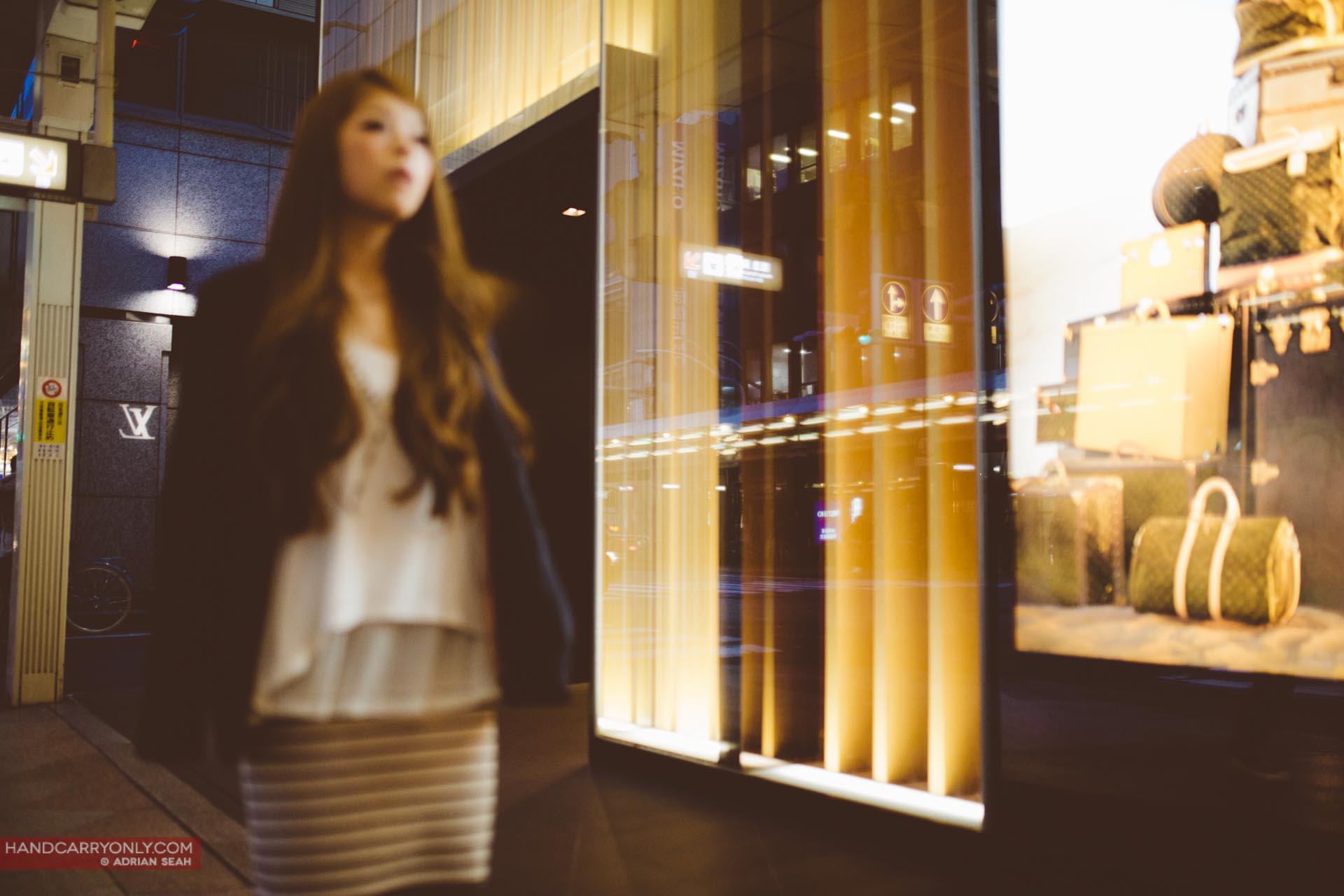 girl on shopping street kyoto japan