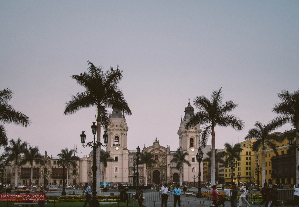 Dusk at the grand Plaza de Armas, in the historic heart of the city