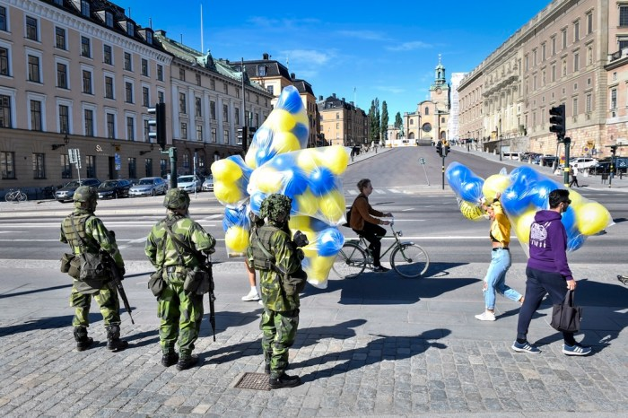 Military training exercise in Stockholm on national day