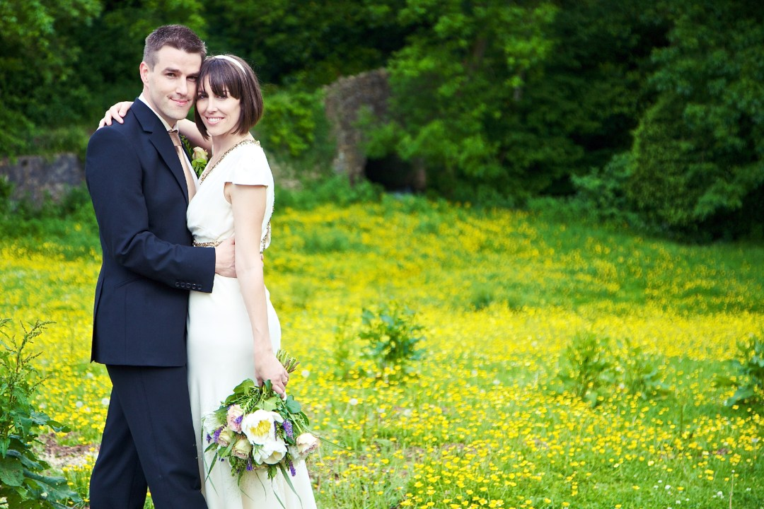Bride & Groom with buttercups