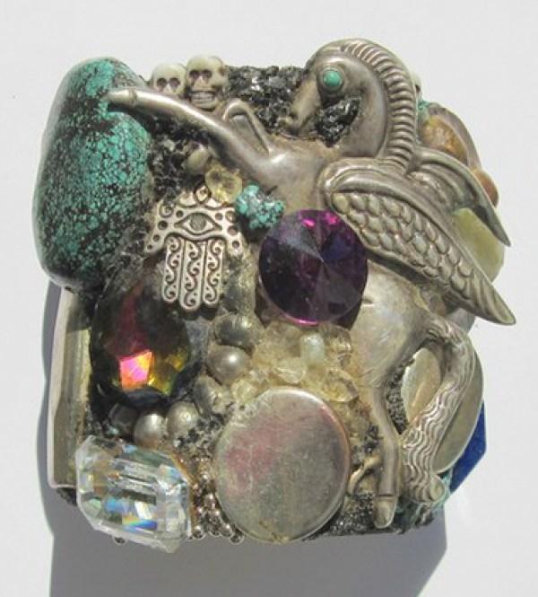 Mexican Silver Pegasus wristy cuff bracelet by fashion jewelry designer Wendy Gell