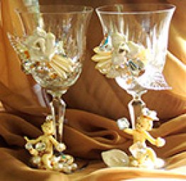 Custom adorned wedding goblets by fashion jewelry designer Wendy Gell