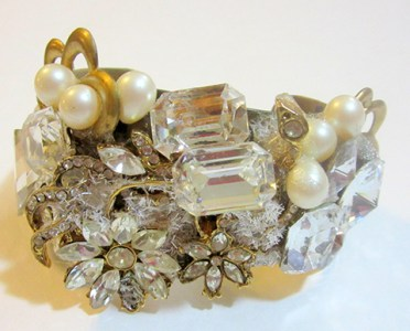 Sumptuous 'Ice Flowers' wristy cuff bracelet by fashion jewelry designer Wendy Gell
