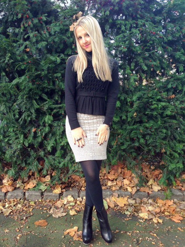 Escada sweater & BCBG Max Azria skirt