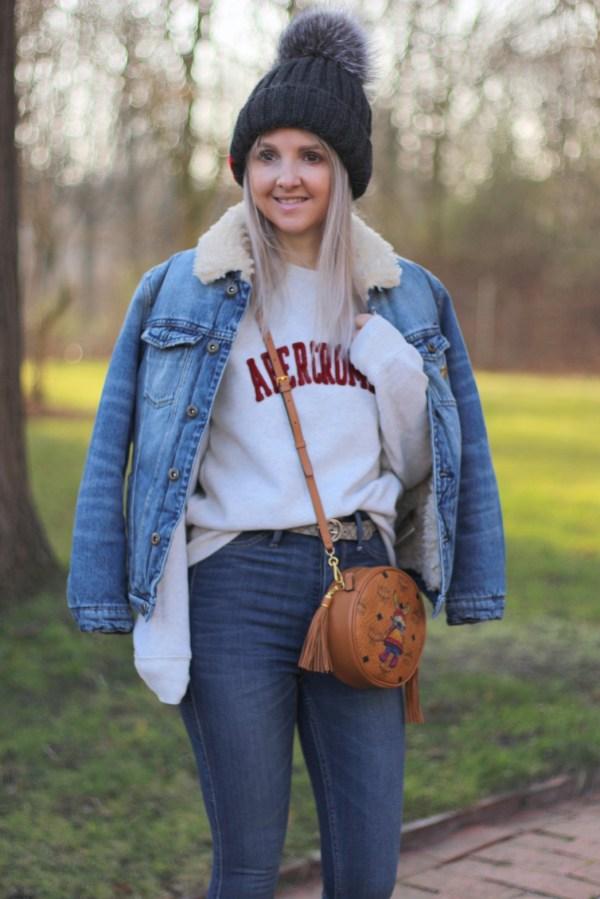 Abercrombie Sweatshirt, MCM Tasche, Scotch & Soda Jeansjacke, Modeblogger aus Hannover