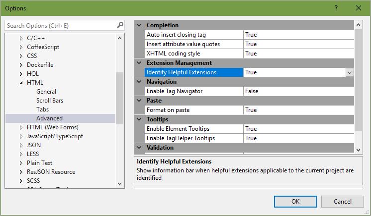 Tools Options HTML Advanced Identify Helpful Extensions
