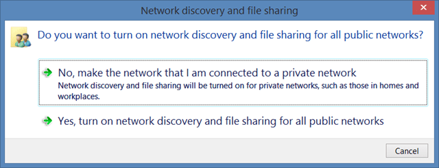 Do you want to turn on Network discovery and file sharing for all public networks? NO
