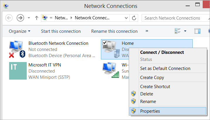 Network Connections with VPN