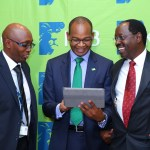 (From Left) KCB Acting Chief Financial Officer Charles Lang'at, KCB Group CEO Joshua Oigara and  KCB Group Chairman, Ngeny Biwott