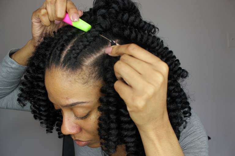 Crochet Hair Install : your crochet hook ready insert crochet hook under your braid