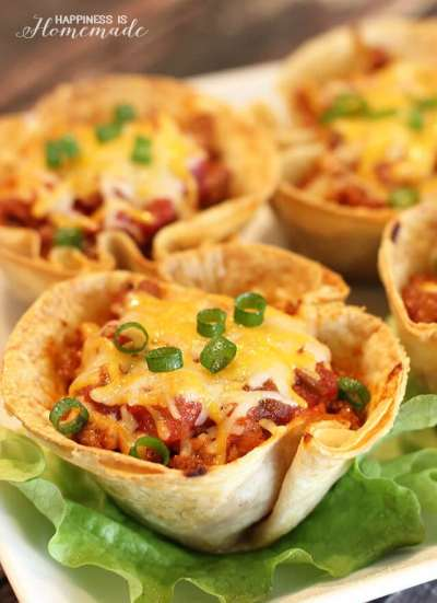 Easy Dinner Recipes: 30-Minute Taco Cups - Happiness is Homemade