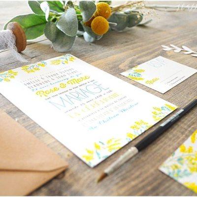 faire-part-mariage-mimosa-jaune-fleurs-peinture-aquarelle-happy-chantilly