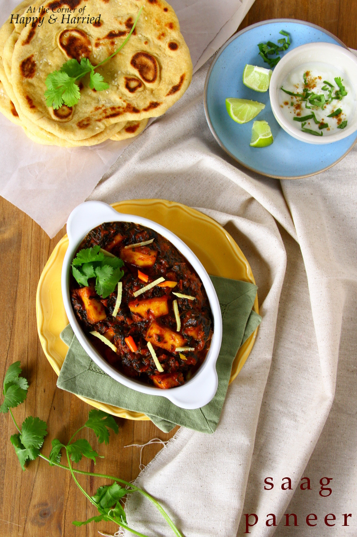 Saag Paneer (Indian Cottage Cheese And Greens Curry) With Instant Naan