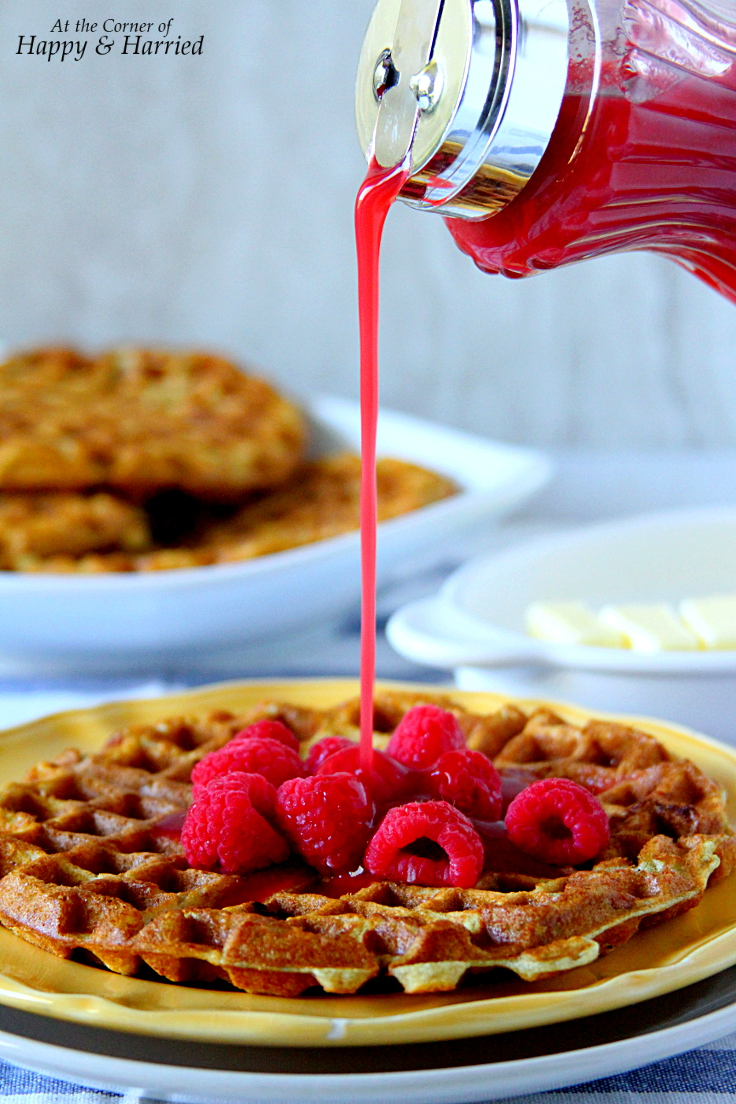 Lemon Yogurt Berry Waffles With Raspberry Syrup