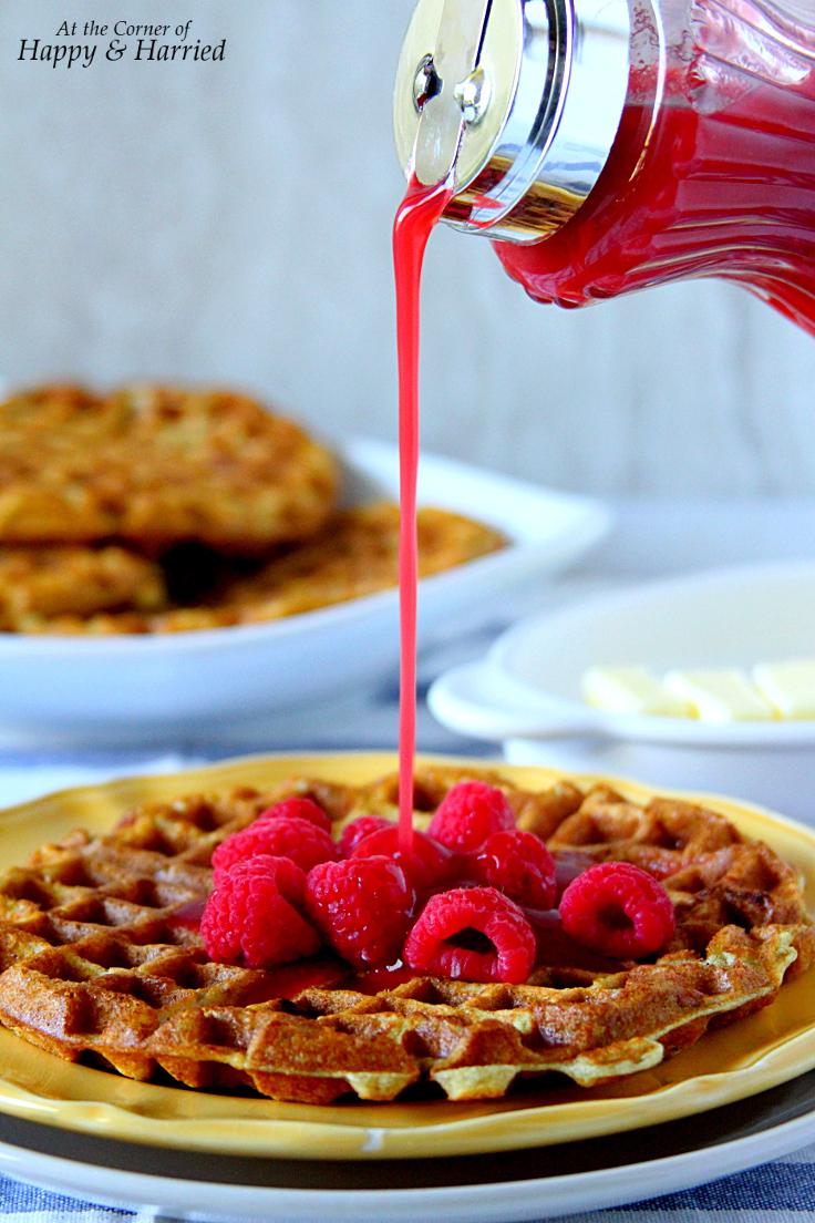 Lemon Yogurt Berry Waffles With Raspberry Syrup