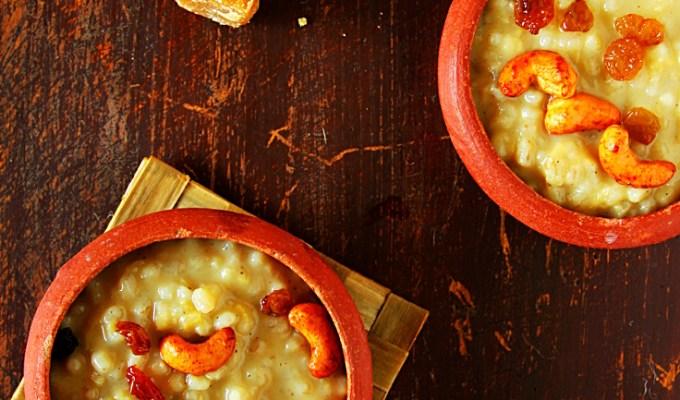 Barley Chakkara Pongal {Rustic Indian Pudding}