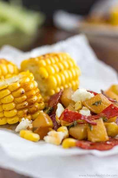Grilled Corn with Pear Chorizo Salad Recipe - HappyFoods Tube