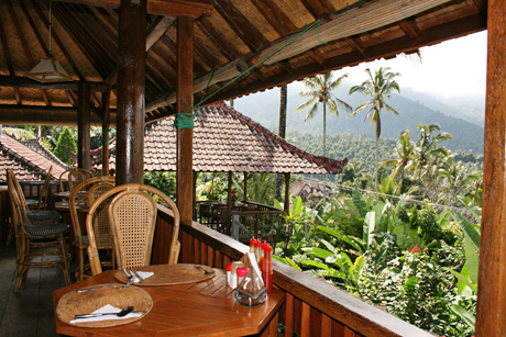 Barbara Weibel This is the restaurant and view at the Puri Lumbug Resort in central Bali