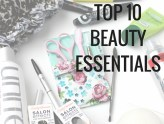 Top 10 Beauty Essentials: mascara, nail stickers, brow kit, hand cream, eos, got2b dry shampoo and unite hair care.
