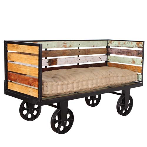 E Order Now IRON WITH RECYCLED TIMBER SOFA ON WHEELS