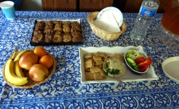 Homemade Vegan Boursin Cheese with assorted crackers; Homemade chocolate chip Pecan Cookies.