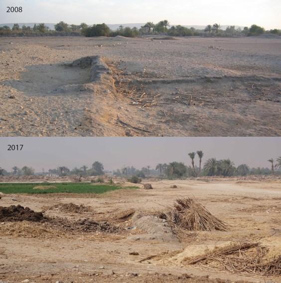 La parete posteriore del complesso nel 2008 (sopra) e nel e 2017 (in basso), mostrano l'entità del recente degrado. Le rovine di mattoni di fango siedono come uno strato superficiale sulla superficie del deserto e sono facilmente distrutti.