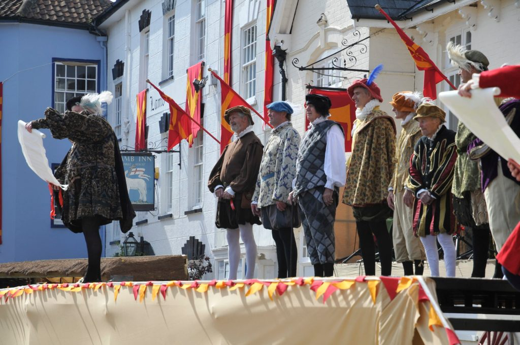 AXBRIDGE PAGEANT: More from the programme of August's no show due to Covid-19 – in this article the town receives new Elizabethan charters giving power, status and also trading standards to its wool based economy