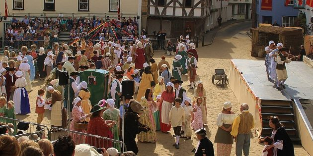 AXBRIDGE PAGEANT: more from the programme of this year's no-show due to Covid-19 – there's one scene that's a perfect set piece for the town square as the Lady Day Fair in all its colour brings life to the town's past