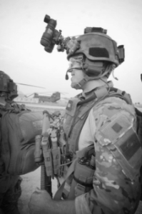 The author before a combat mission in Afghanistan with 1st Ranger Battalion, 75th Ranger Regiment.