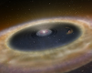 light dust cloud swirl around a star with planet forming in between