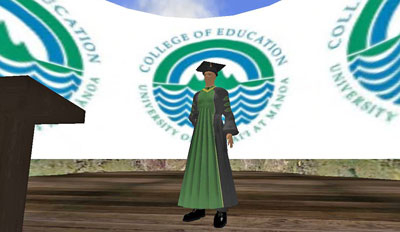 A virtual graduate in cap and gown