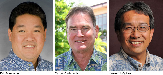 Head shots of Eric Martinson, Carl Carlson and James Lee
