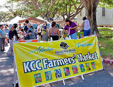 A banner fronting the Kapiolani Farmers' Market