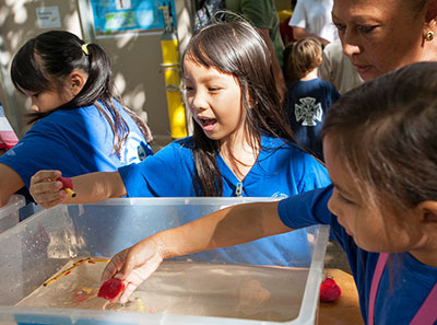 kids at science display