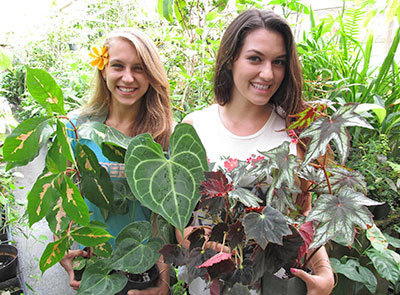 students with plants
