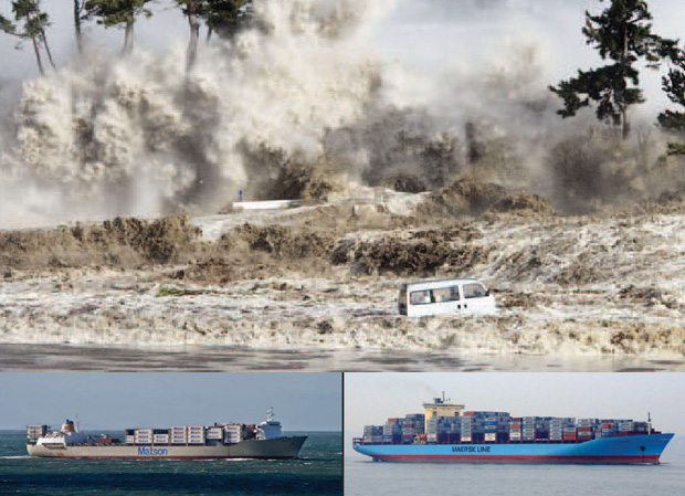 Matson and Maersk Line ships and tsunami