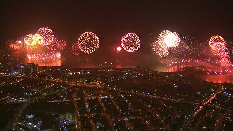 fireworks show filmed for Kuwait's Constitution 50th Anniversary