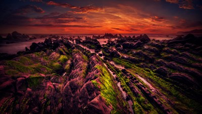 Rocky shore Sunset 5K Wallpapers | HD Wallpapers | ID #18943