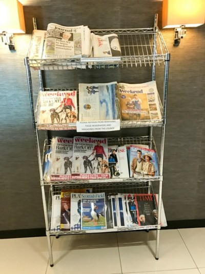 Aspire lounge Newcastle Airport magazines