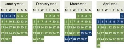 Aer Lingus Avios off peak calendar 2018_1